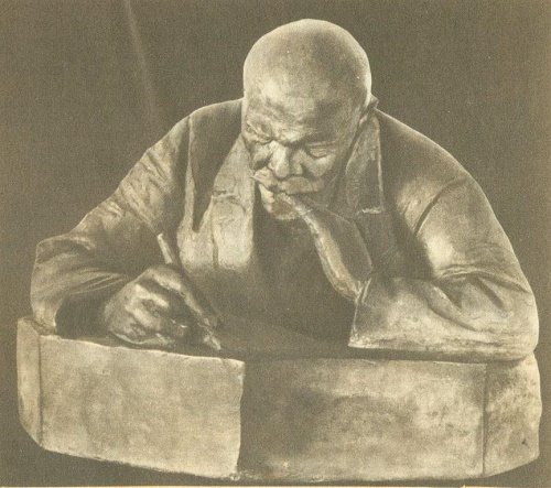 Writing Lenin. 1920. Gypsum