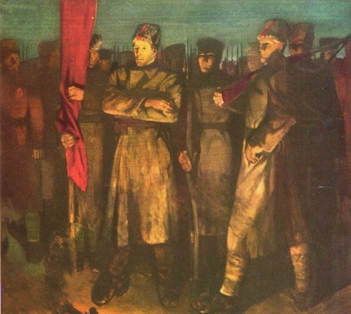 Soviet artist Indulis Zarins (1929-1997). Soldiers of revolution. 1965