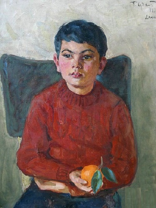 A boy with an orange. 1982. Damascus. Soviet artist Pavel Fyodorovich Sudakov (1914 - 2010)