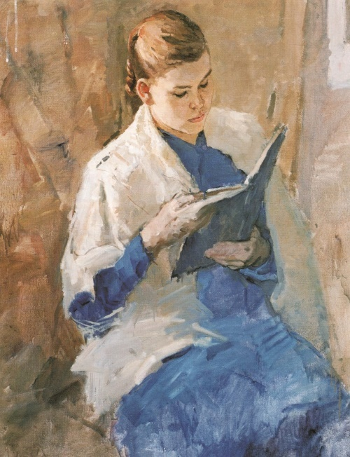 Soviet painter Andrei Gorsky. Portrait of V. Kandaurova. 1951. The property of the artist