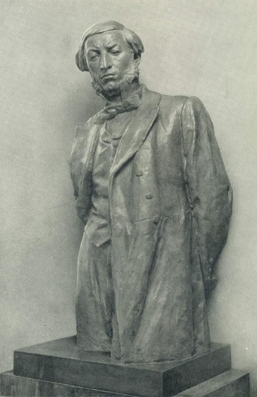 Armenian poet Mikael Nalbandian. 1952. Tinted gypsum