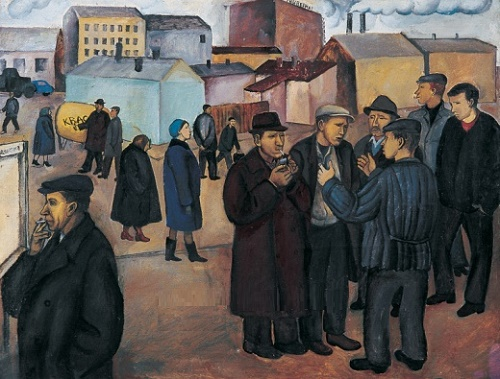 At the Lenin outpost. Oil. 1966. Soviet Russian artist Tatyana Nazarenko
