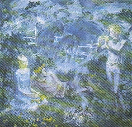 Painting flowers Soviet artist Boris Shamanov. Fairy tale. Kupavki. Oil. 1984