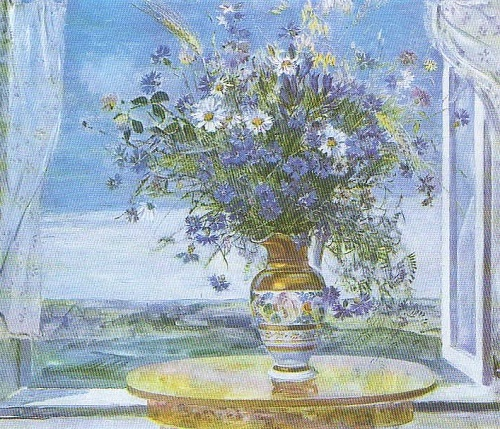 B. Shamanov. Morning. Bouquet of cornflowers. Oil. 197