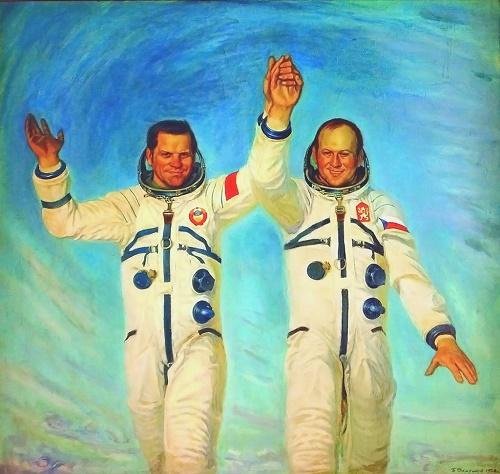Soviet artist Boris Okorokov (1933 - 2005). The Soviet-Czechoslovak crew. 1978