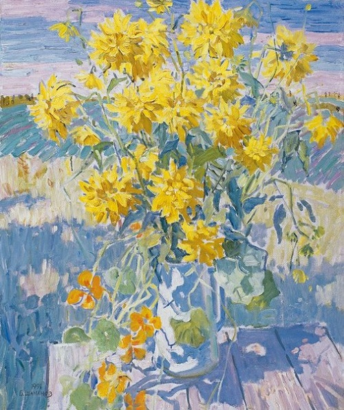 Soviet artist Boris Shamanov (1931-2008). September. Yellow flowers. 1990