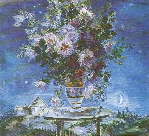 Painting flowers Soviet artist Boris Shamanov. Night. Asters. Oil. 1979