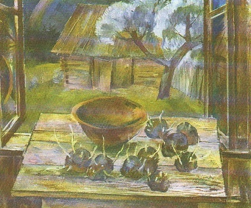 Soviet artist Boris Shamanov. Sprouted potatoes. Spring. Oil. 1965