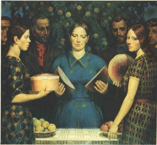 Soviet Belarusian painter Mikhail Savitsky (February 18, 1922 – November 8, 2010). Bread of new harvest. Oil