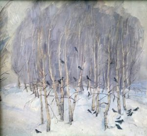 Crows in a violet forest. Cardboard, oil. 1970s
