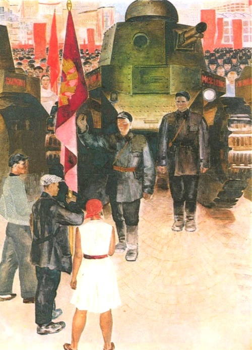 E. Zernova. The transfer of tanks  Tempera. 1931