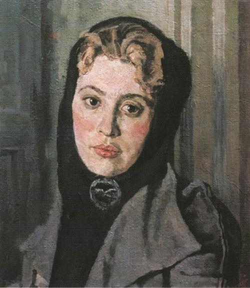 Female portrait. 1954. The State Tretyakov Gallery. Soviet painter Andrei Gorsky (17 April 1926 - 22 September 2015)