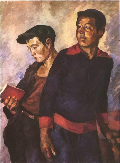 GM Shegal (1884-1956). Kazakhs factory-students. 1931. Oil on canvas