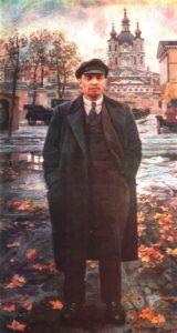 VI Lenin on a background of the Smolny. Oil. 1925