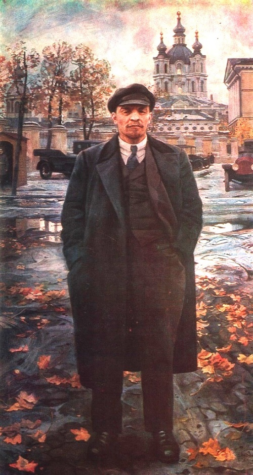 VI Lenin on a background of the Smolny. Oil. 1925