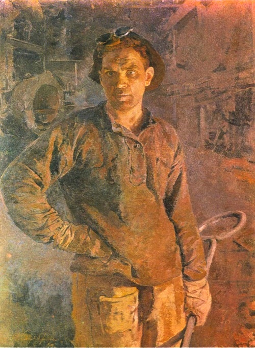 Creator of new life - Man of labor in Soviet art. I. Serebryanyi. A steelworker of the plant named after SM Kirov. Oil. 1950