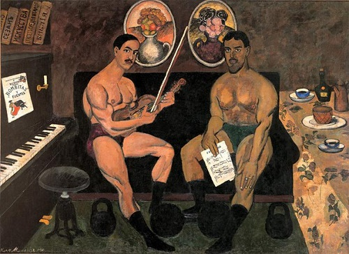 Ilya Mashkov, Self-portrait and a portrait of Petr Konchalovsky 1910 State Russian Museum