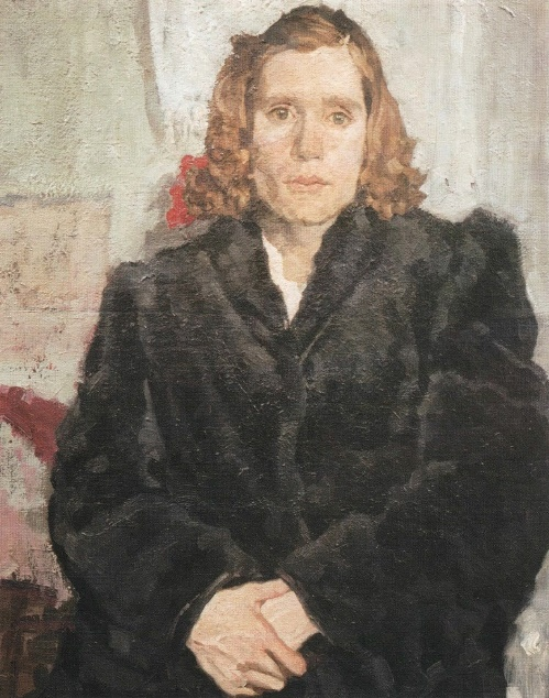 In a difficult moment. Portrait of Z. Rozovskaya. 1954. History - Art Museum, Serpukhov