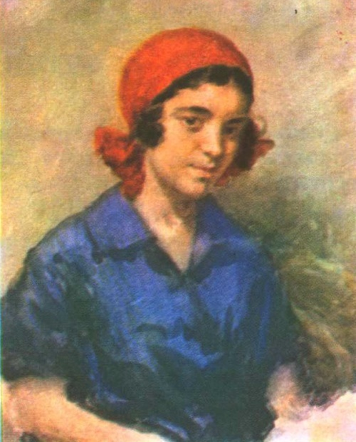 Ivan Kulikov (1875-1941). Girl in a red scarf. Watercolors. 1927