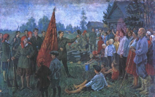 Ivan Kulikov (1875-1941). Komsomol in a village. Oil. 1937