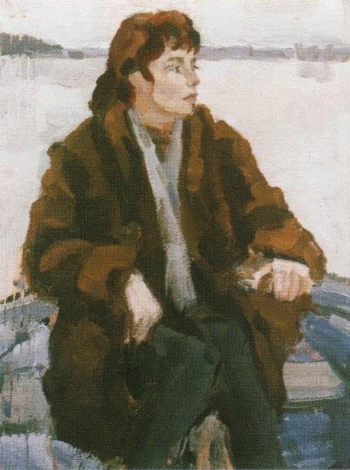 Katerina Chernysheva on Lake Mstino. 1962. The property of the artist