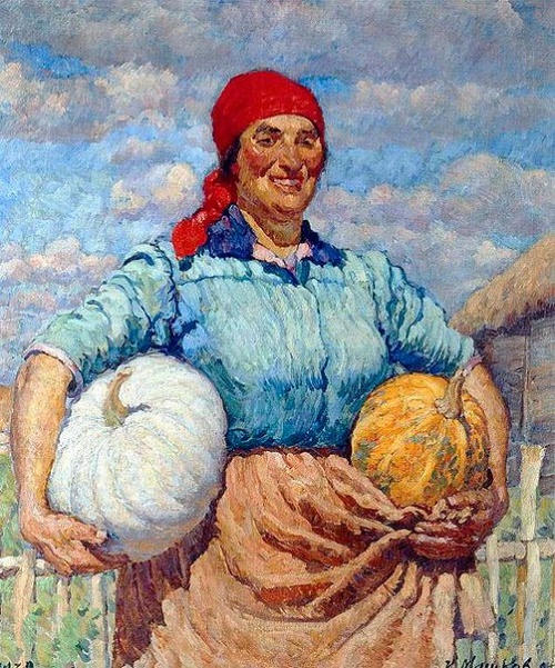 Kolkhoz woman with pumpkins. 1930