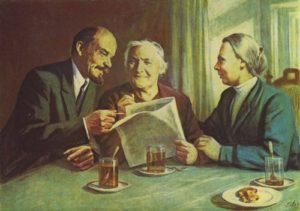 Friendly talk - Lenin, Clara Zetkin and Nadezhda Krupskaya