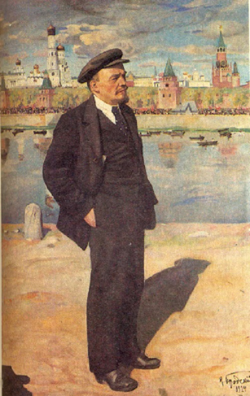 Lenin on the background of Kremlin. 1923. Oil, canvas. Central museum of Lenin. Moscow