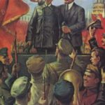 Traditional image of Lenin speaking at the meeting