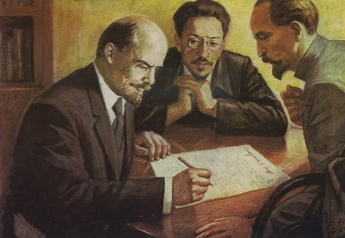 Vladimir Lenin with Sverdlov and Dzerzhinsky