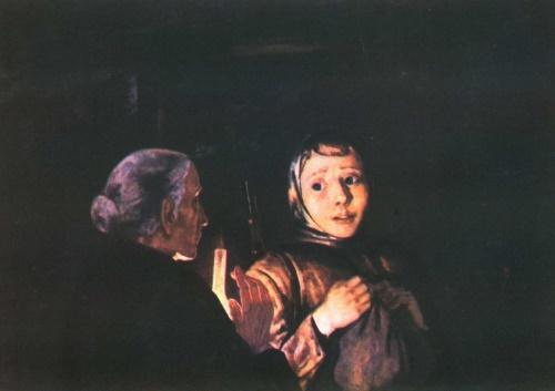 Soviet artist Mikhail Andreyevich Savitsky. Leaving into the night. Oil. 1980