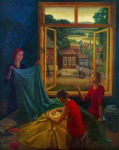 MA Faidysh (b. 1946, Moscow). Tarusa lace masters. 1975. Oil on canvas
