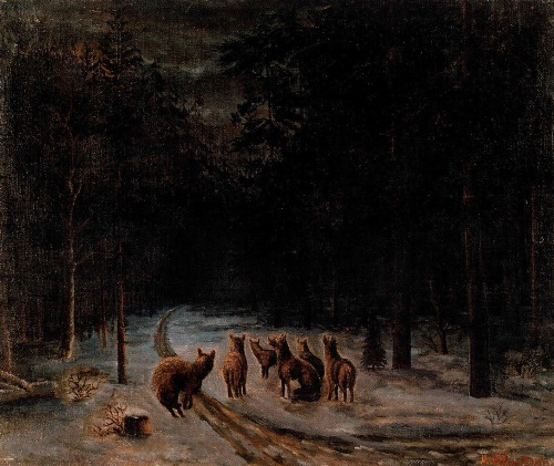 MA Romadin. Wolves howl at the moon. private collection