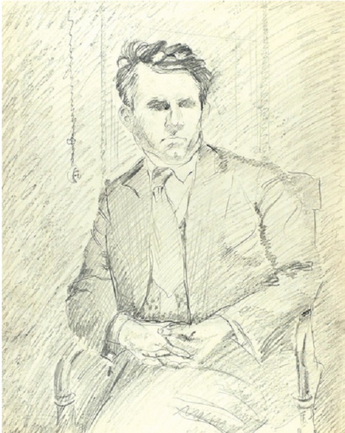 Male portrait. 1940s. Pencil, paper