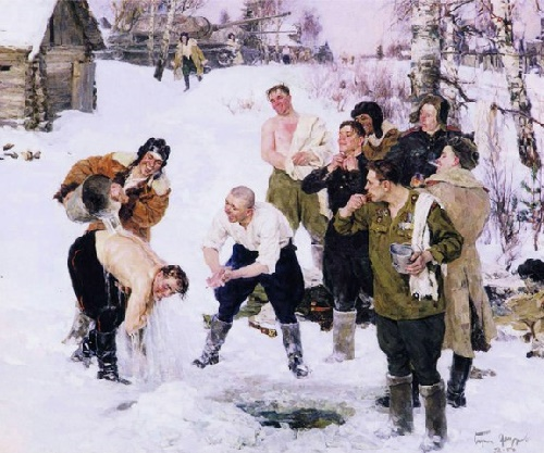 Morning of tank crew. 1952-1954. Painting by Soviet artist Boris Fyodorov