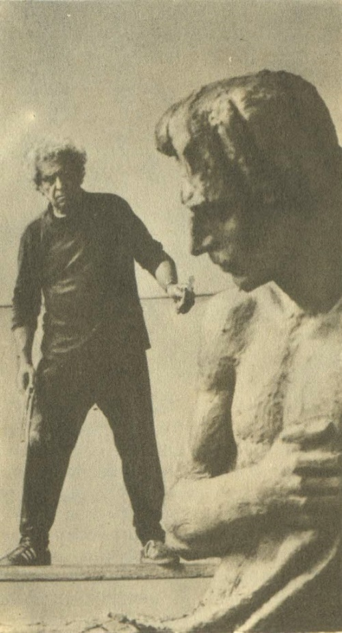 N. Nikogosyan working on a model of the monument to the poet Vahan Terian. 1986