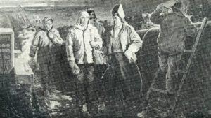 N. Ovchinnikov. Difficult kilometers (Builders of pipeline Urengoy - Uzhgorod). Canvas, oil. 1985