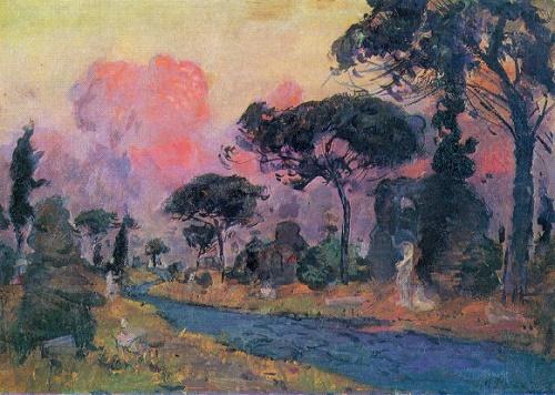 Nikolay Romadin. Born 1903. The Appian way. Oil on cardboard