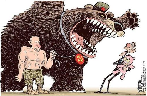 One of the last works of Yefimov, Putin vs Obama