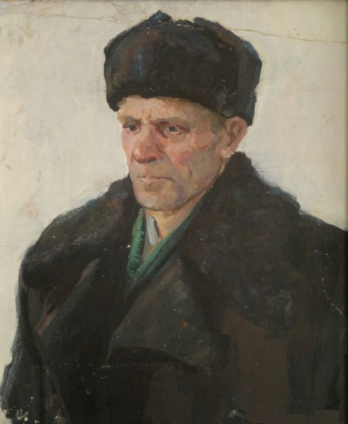 Portrait of father. Cardboard, oil. 1960s