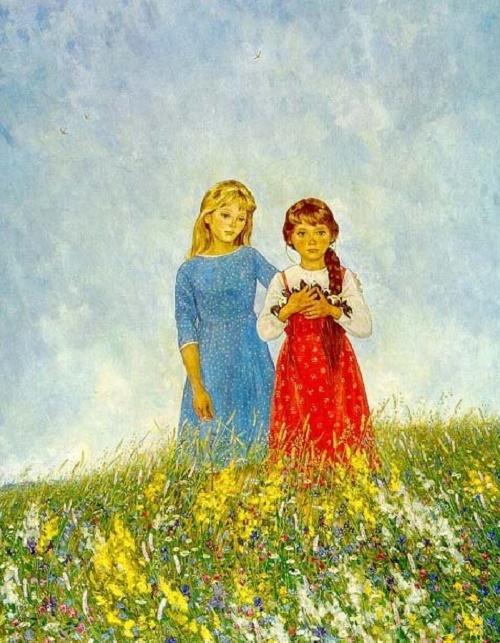Russian field. Soviet Russian artist Ekaterina Chernysheva