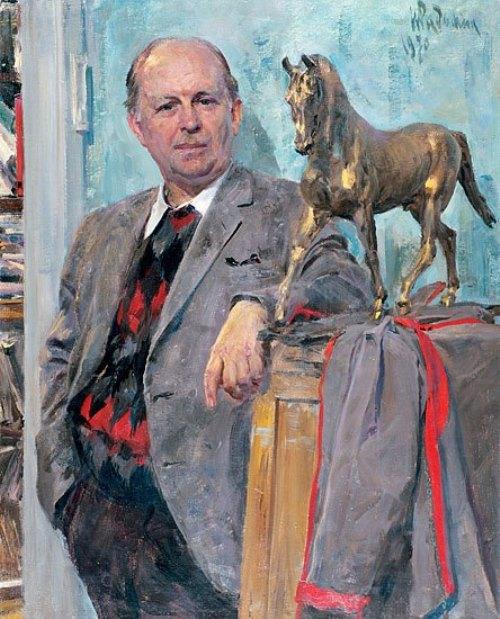 Soviet artist Igor Radoman (1921-1992). Portrait of sculptor A. Posyado with a bronze horse. 1970