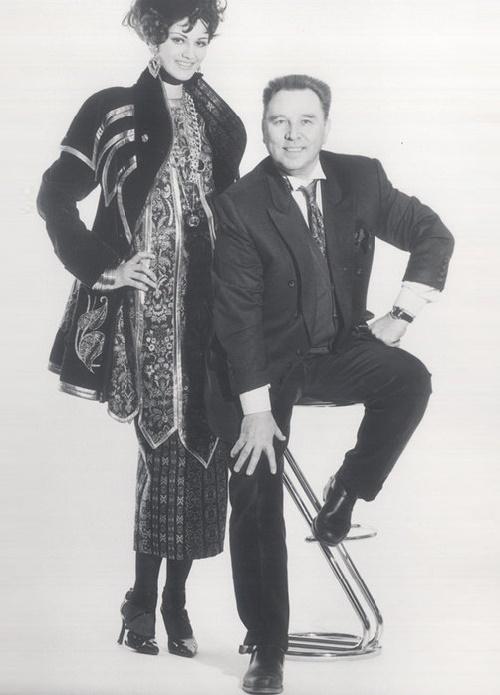 Soviet fashion designer Vyacheslav Zaitsev and model Leka Mironova