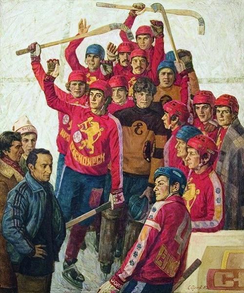 Soviet artist Stepan Yegorovich Orlov (1929-2003). Krasnoyarsk Ice-hockey team 'Yenisei'. 1985