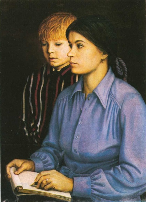 Soviet Russian artist Tatyana Nazarenko. Self-portrait with her son. Oil. 1977