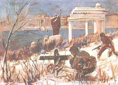 V. Davydov. Fight on Gellert Hill. Watercolor, White. 1945