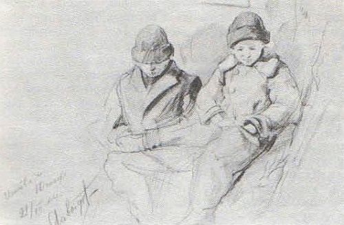 V. Davydov. Ishtvan and Yuzhaf. Pencil. 1944