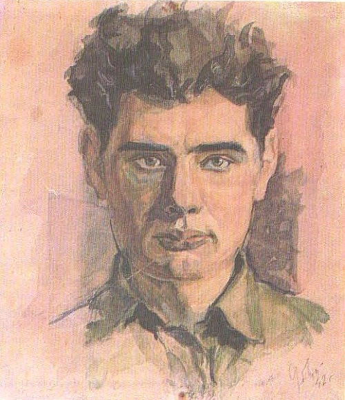 V. Davydov. Self-Portrait (before leaving for the war). Watercolor. 1942