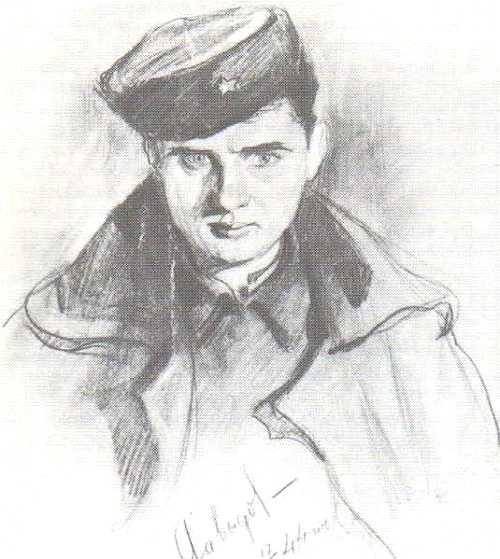 V. Davydov. Self-portrait in the Kuban hat. Pencil. 1944