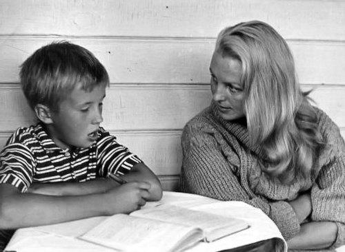 Vija Artmane with her son
